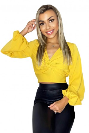 Women's Yellow Front Knot Crop Top