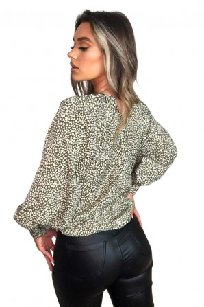 Women's Olive Printed Balloon Sleeve Top