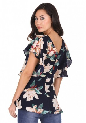 Women's Navy Bold Floral Frill Detail Top