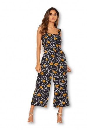 Women's Navy Mixed Floral Frill Sleeve Jumpsuit