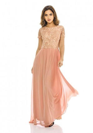 Womens Blush 2 in 1 Crochet Top Maxi Dress