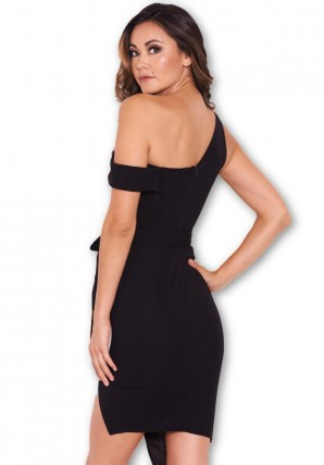 Women's Black One Shoulder Asymmetric Dress