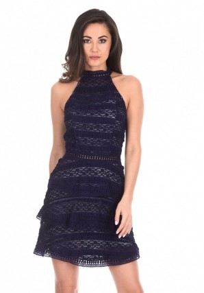 Women's Navy Lace Layered Mini Dress