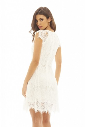 Women's Capped Sleeve Crocheted Lace  Cream Dress