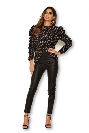 Women's Black Floral Ruched Long Sleeve Top