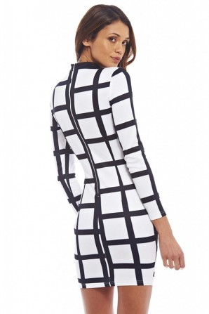 Women's Checked High Neck Bodyconcream Black Dress