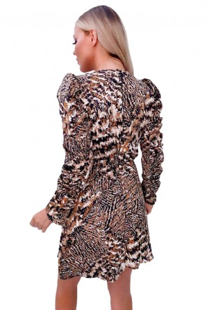 Women's Printed Rouched Sleeve Dress