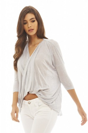 Women's Knitted Wrap Front  Silver Top