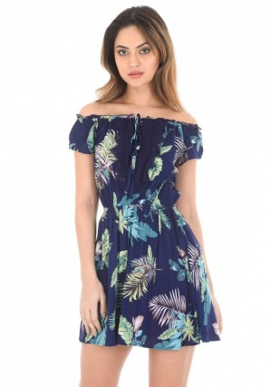 Women's Navy Off The Shoulder Printed Dress