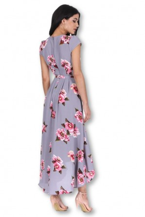 Women's Grey Floral Print Dress