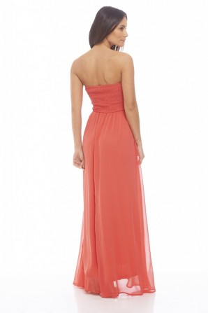 Women's Chiffon Pleat Front Plain Maxi Coral Dress
