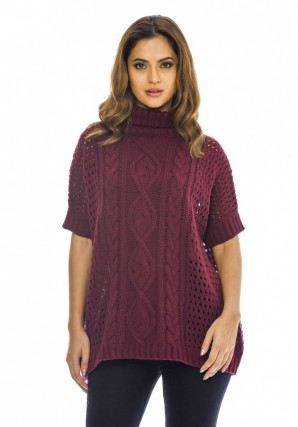 Women's High Neck Cable Knit  Wine Sweater