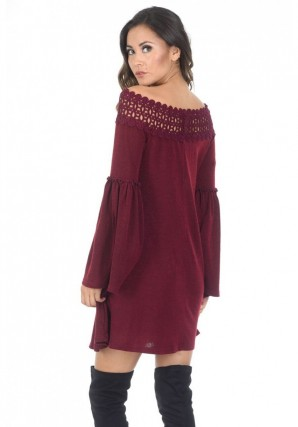 Women's Wine Off The Shoulder Frill Swing Dress