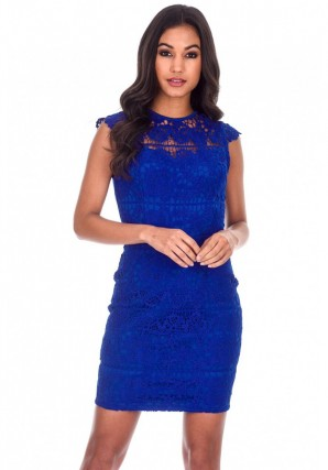 Women's Blue Crochet Detail Mini Dress