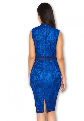 Women's Blue Lace Midi Dress