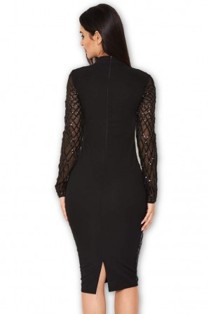 Women's Black Long Sleeved Sequin Midi Dress