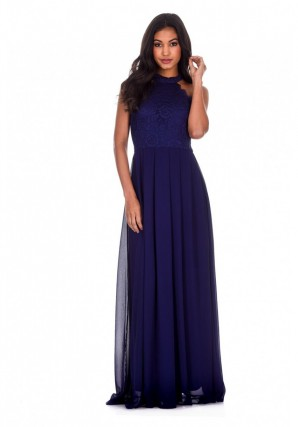 Women's Navy Lace Choker Neck Maxi Dress