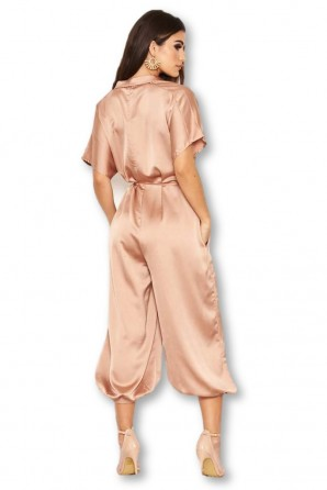 Women's Mocha Button Up Jumpsuit