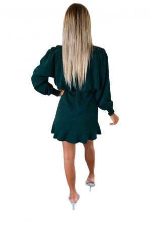 Women's Green Shirring Neck Skater Dress