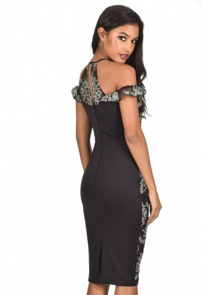 Women's Black Embroidered Capped Sleeve Bodycon Dress