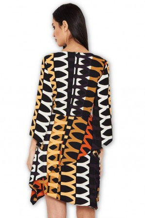 Women's Orange Aztec Printed Frill Dress