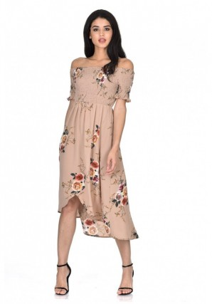 Women's Beige Floral Bardot Printed Dress