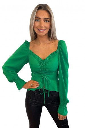 Women's Green Shirred Back Milkmaid Top