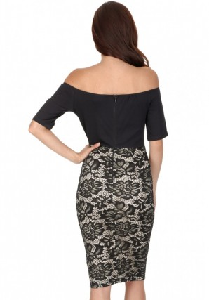Women's Black And Nude Off The Shoulder Midi Dress
