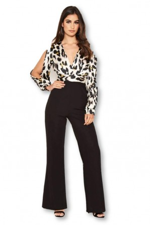 Women's 2 in 1 Leopard Print Split Sleeve Jumpsuit