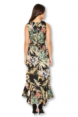Women's Black Floral Frill Midi Dress
