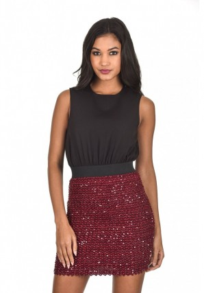 Women's Plum And black  2 in 1 Mini Dress