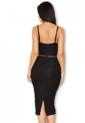 Women's Black Lace Dress With Mesh Detail Waist
