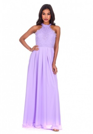 Women's Lilac Lace Choker Neck Maxi Dress