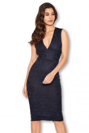 Women's Navy Midi Dress With Lace Contrast Front