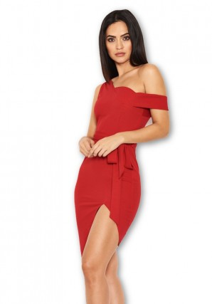 Women's Red One Shoulder Asymmetric Dress