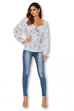Women's Blue Floral Long Sleeve Milk Maid Neckline Top
