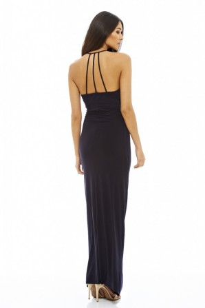 Women's Ruched Slinky Maxi  Navy Dress