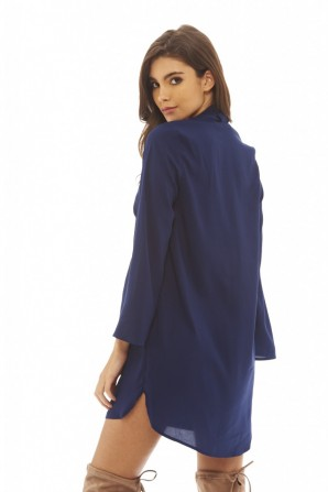 Women's Tie Neck Swing  Navy Dress