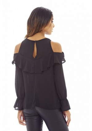 Women's Cold Shoulder Frill  Black Blouse