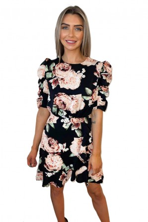 Women's Black Rose Print Ruched Sleeve Wrap Dress