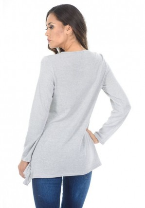 Women's Silver Frill Detail Sweater