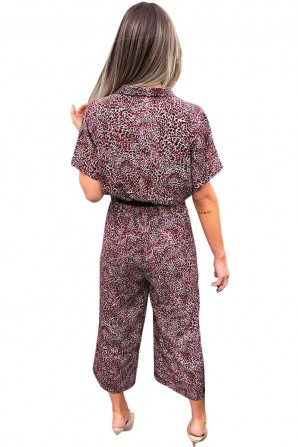 Women's Red Printed Button up Jumpsuit