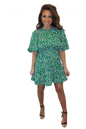 Women's Green Abstract Print Puff Sleeve Dress