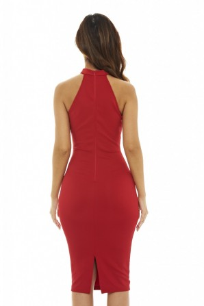 Women's Cut Out Neck Midi     Red Dress
