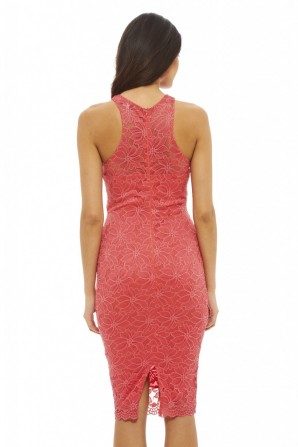 Women's Cut In Neck Lace Bodycon Coral Dress