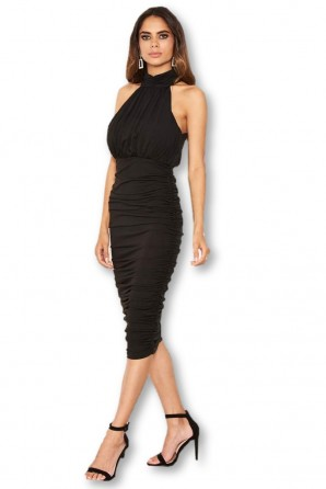Women's Black High Neck Ruched Bodycon Midi Dress