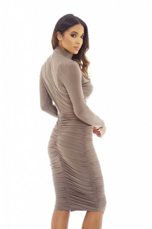 Women's Choker midi  Pewter dress