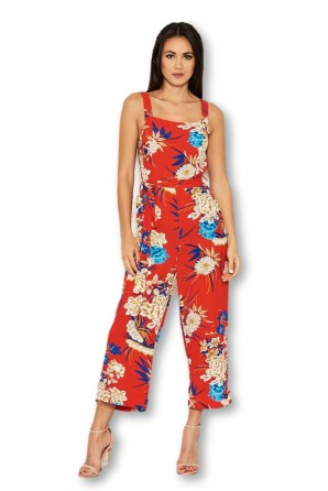Women's Red Floral Printed Jumpsuit
