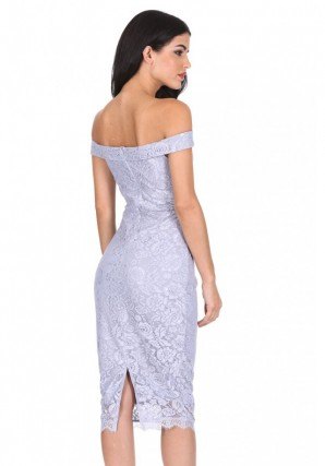 Women's Silver Lace Bardot Midi Dress
