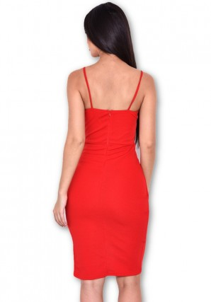 Women's Red Notch Front Wrap Dress